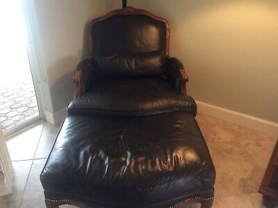 Antique Black Leather Chair and ottoman-Broward County Florida