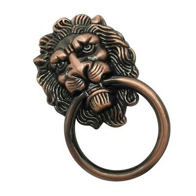 Antique Lion Head Handle Door Cabinet Drawer Cabinet Pull Ring Knob Copper