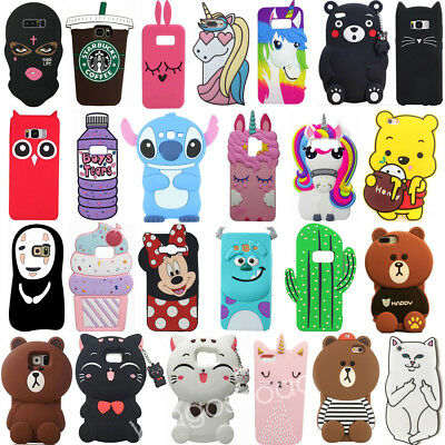 For Samsung galaxy S9 S9Plus Note 8 S8 S8P 3D Cute Cartoon Soft Phone Case Cover