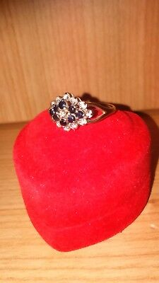 9ct Sapphire/Diamond Cluster Ring Size N