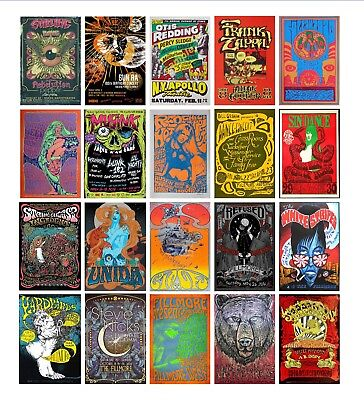 Vintage MUSIC CONCERT A3 A4 POSTERS Psychedelic 50 OPTIONS FAST SHIP FROM UK
