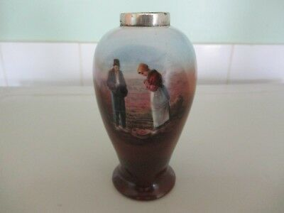 Antique Small Vase With Sterling Silver Top , Nice Item.