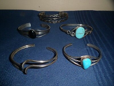 Lot Sterling Silver Bracelets & .925 Silver, Turquois, One Marked England