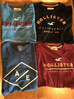 Lot Of 4 Hollister & American Eagle Mens Shirts XL Summer t-Shirts
