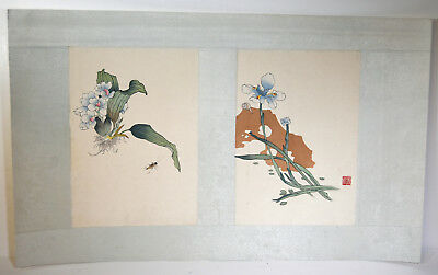 "22"" Antique Chinese Asian Double Watercolor on Silk Narcissus Longevity Cricket"