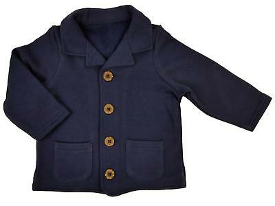 Baby Boy Jacket Coat Pram Coat Cardigan Navy Buttoned Collar Pocket Detail