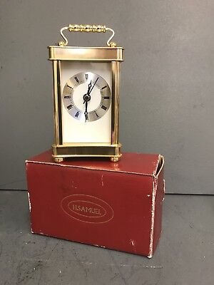 H Samuel Carriage Clock Vintage & Mint Brand New In Box Solid Brass