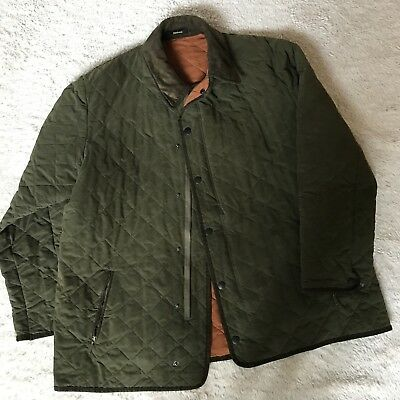 Men's Barbour Quilted Jacket olive with orange lining  EUC retails for $289 XL