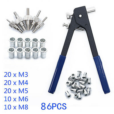 Threaded Nut Riveter Rivet Gun Rivnut Insert Tool + 40 Rivets M3-M8 106pcs/Set