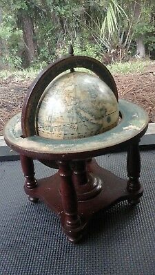 Vintage From Japan Wooden Globe and Stand Spins around Zodiac Signs