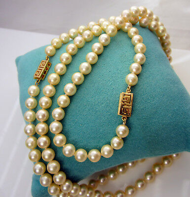 Estate Vintage Gorgeous Rare Set Two 18k Yellow Gold 7 mm Creamy Pearl Necklaces