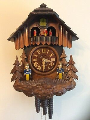 Musical Black Forest Cuckoo Clock Automaton Fully Serviced With Soldier Theme