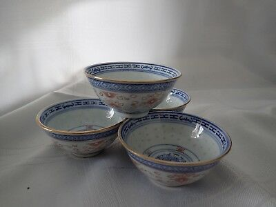 Vintage / Antique Chinese Rice Inlaid Pottery Set of 4 Small rice Bowls signed