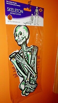 "Beistle 22"" CARDBOARD Skeletons (2) Halloween Decorations Jointed PACKAGED"