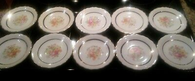 "Lot  (10) VINTAGE KEYSTONE CANNONSBURG POTTERY 5.75"" SAUCERS CREAM COLOR FLORAL"