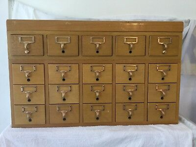 Vintage Antique Library Card Catalog Index File Wood Drawers 20 Drawers Crafts