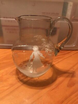 Vintage Hand Painted Glass Blown Pitcher