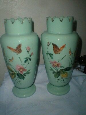 Stunning Early Pair Bristol Glass Vases Butterfly Flowers