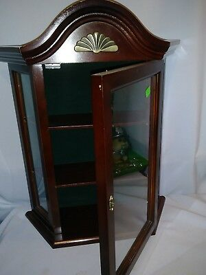 small wood curio cabinet