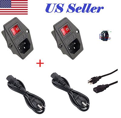 2X Power Socket Panel mount 10A 120V Inlet Module Plug IEC320 +2X1.2m Power Cord