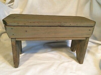 """Vintage Wood Stool Original Primitive Rustic Bench Antique 8.25"""" tall Hand Made"""