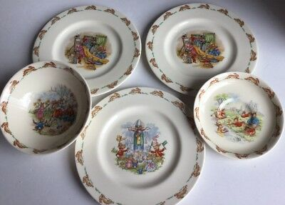 Lot Of Vintage Royal Doulton Bunnykins Children Dinnerware 1968-75 . 5 pcs