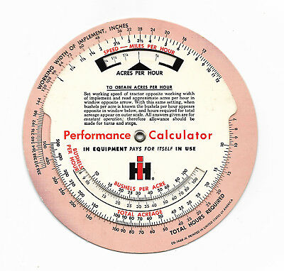 1950's-1960's International Harvester Performance Calculator IH Equipment