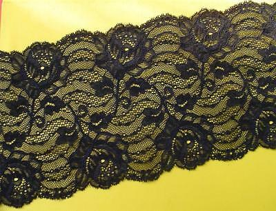 4 MTRS Black Floral Galloon Lace Goth-Classic  French Made Quality Stretch lace