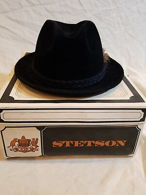 Vintage Black Stetson Fedora Hat Original Box with Label from Factory