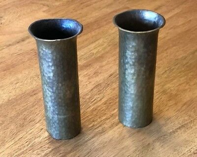 Pair Antique Mission Arts and Crafts Hand Hammered Bud Vases by Turchin New York