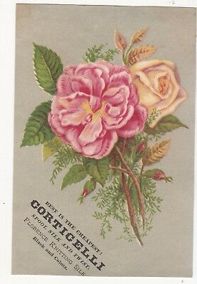 Corticelli Florence Knitting Silk Pink & Yellow Flower Vict Card c1880s