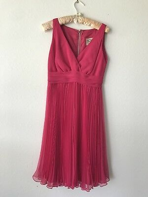 Vintage Miss Elliette Bright Pink Pleated Chiffon Party/ Cocktail Dress Size 8