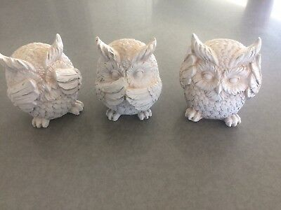 Wisdom Of The Forest See Hear Speak No Evil Great 4 inch Owls Figurine Set