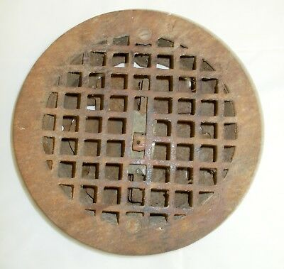 Vintage Round Cast Iron Floor Register Heat Grate/Vent With Louvers RUSTY