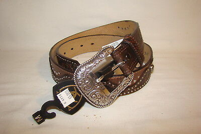 Ariat Western Belt Brown Two-Tone Leather Tooled Stud Concho A1520202 Womens M