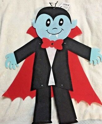 "Halloween Decor Jointed Felt Dracula Vampire Hanging Decoration 23"" Tall NEW-TAG"