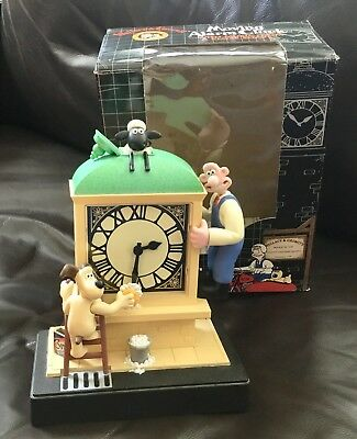 Wallace & Gromit Wesco 1989 Moving Alarm Clock Works Great! Box Aardman