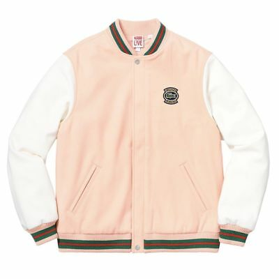 Supreme Lacoste Wool Varsity Jacket Peach/ SMALL  *CONFIRMED*