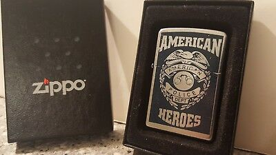 Zippo '' AMERICAN HEROS '', Police Dept. Gently  Used. Usual wear.  2005