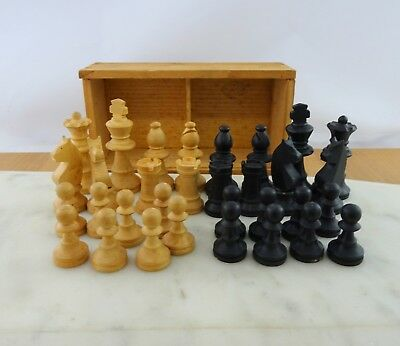 Vintage Hardwood Hand Carved Chess Pieces, Chess Men Complete in Box