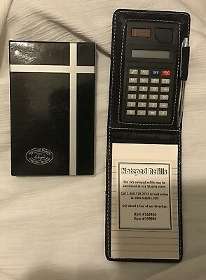 Vegan Leather Note Jotter, Faux Leather, Black / To-do notepad, calculator & pen