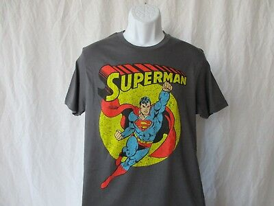 Superman Super Hero Retro T-Shirt Adult Gray  Sizes Small - X-Large - NEW
