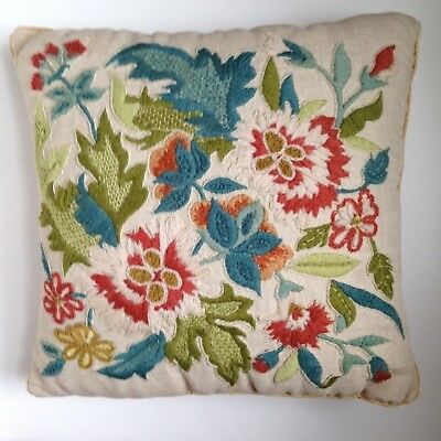 VintageJ acobean Embroidered  Pillow 12 x 12 -  Crewel Floral