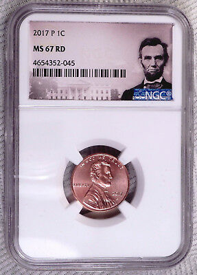 2017-P 1C Lincoln Shield Cent, NGC MS67 RD, P Mint Mark, Beautiful Red Cent