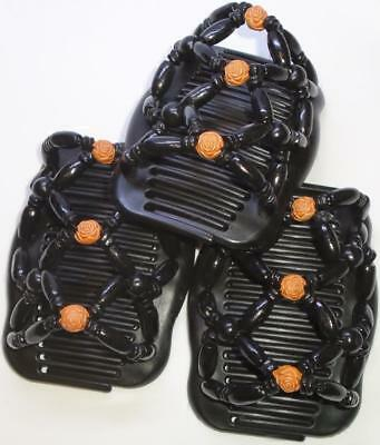 """Set of 3 Double Hair Combs, Angel Wings Clips 4x3.5"""",African Butterfly, Classic!"""