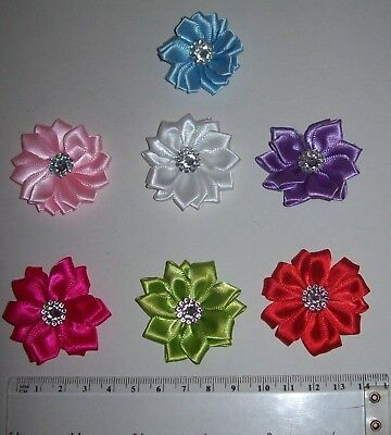10 Rhinestone Embellished Satin Ribbon Flowers Approx. 45mm diameter UK SELLER