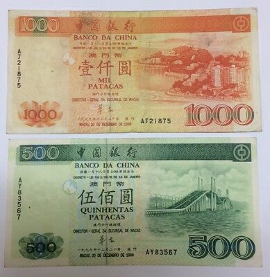 Macau - Macao : Lot Of 2 Banknotes - 500 & 1000 Patacas - Bank Of China - 1999