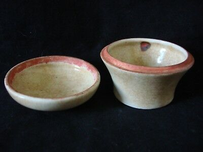 Antique Chinese Small Ceramic Porcelain Red Ink Pot With Lid