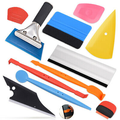 PRO Vinyl Wrap Tool Felt Squeegee Carbon Fiber Knife Blades Window Tint Kit