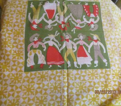 Vintage Tammis Keefe Soft Cotton Handkerchief Hoe Down Dancing Yellow Green MCM